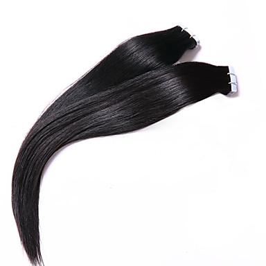 perulainen pu nauha hiusten luonnollisen värin 7 luokan hiuksista laajentaminen perulainen silkkisen suorat hiukset 18