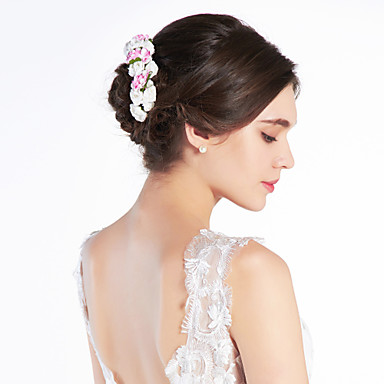 Crystal Fabric Paper Tiaras Headbands Flowers 1 Wedding Special Occasion Party / Evening Headpiece