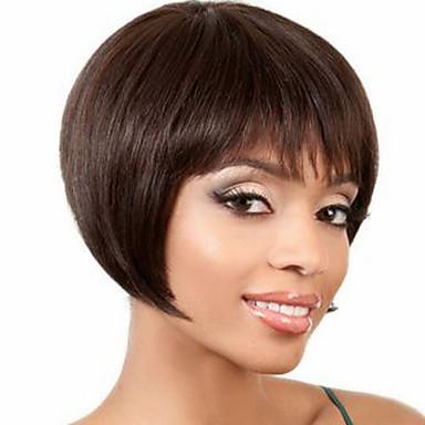 povoljno Perike i ekstenzije-Ljudski kose bez kaplama Ljudska kosa Ravan kroj Kratke frizure 2019 Stil Capless Perika