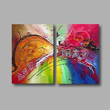 Maalattu Abstrakti Horizontal, Moderni Kangas Hang-Painted öljymaalaus Kodinsisustus 2 paneeli