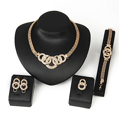 Women's Crystal Jewelry Set - Statement, Festival / Holiday Include Chain Bracelet Silver / Golden For Wedding / Party / Birthday / Rings / Earrings / Necklace / Bracelets & Bangles