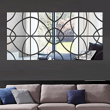 Muodot 3D Wall Tarrat Peilitarrat Koriste-seinätarrat, Vinyyli Kodinsisustus Seinätarra Seinä
