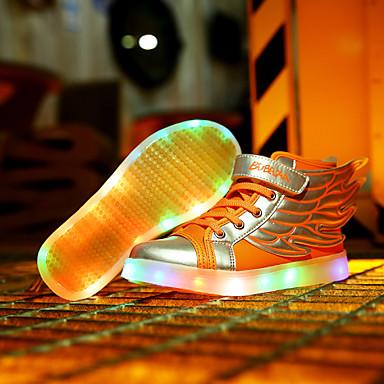 Jongens Schoenen Leer Lente Herfst Noviteit Oplichtende schoenen Sneakers Haak & Lus voor Causaal Wit Oranje Zwart/Rood Gouden