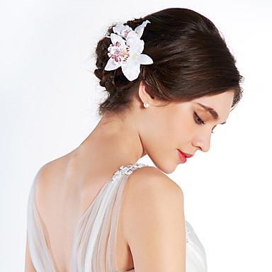 Vrouwen Stof Helm-Bruiloft Speciale gelegenheden Buiten Bloemen
