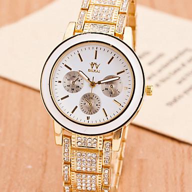 Mulheres Relógio de Moda Quartz Cronógrafo Aço Inoxidável Banda Prata / Dourada / Ouro Rose marca-