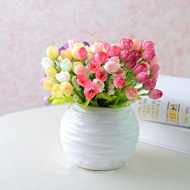 1 şube İpek Plastik Güller Masaüstü Çiçeği Yapay Çiçekler