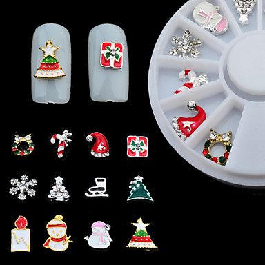 12PCS Christmas Nail Jewelry Decoration Metal Material