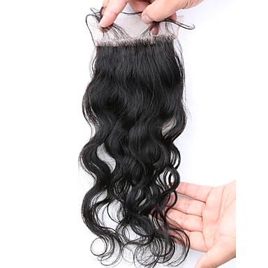 8 12 14 16 18 20inch Koromfekete (#1B) Kézi készített Hullám Emberi haj Bezárás Világos barna Svájci csipke 45g gramm Cap Méret