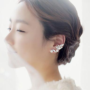 Mulheres Formato de Folha Pérola Zircônia Cubica Punhos da orelha - Cor Ecrã Brincos Para