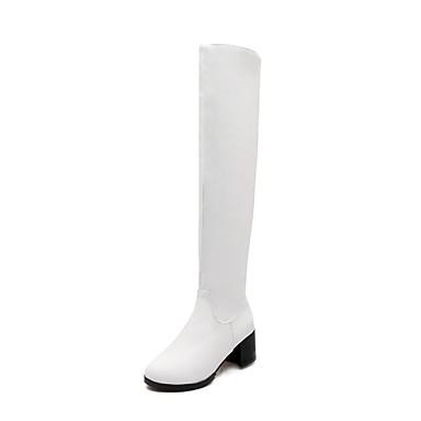 Støvler-Kunstlæder-Modestøvler-Dame-Sort Rød Hvid-Udendørs Kontor Fritid-Tyk hæl