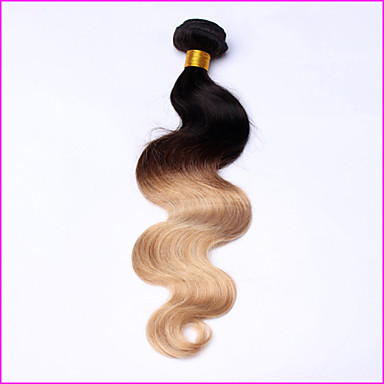 Human Hair Peruvian Ombre Hair Weaves Body Wave Hair Extensions 1 Piece Black