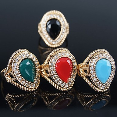 Women's Statement Ring Black Red Green Blue Gold Plated Fashion Party Costume Jewelry