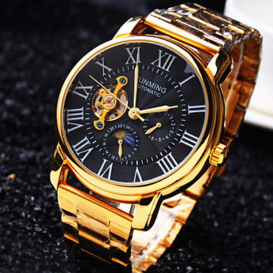 Men's Mechanical Watch Wrist watch Automatic self-winding Water Resistant / Water Proof Hollow Engraving Stainless Steel Band Luxury Gold