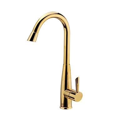 Contemporary Tall/­High Arc Deck Mounted Waterfall Ceramic Valve Single Handle One Hole Ti-PVD, Kitchen faucet