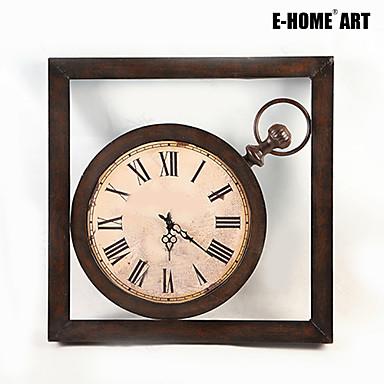 E-HOME® Watch Style Dark Brown Metal Wall Clock One Pcs