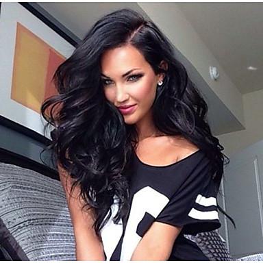 Emberi haj Csipke Paróka Göndör 130% Sűrűség 100% kézi csomózású Afro-amerikai paróka Természetes hajszálvonal Rövid Közepes Hosszú Női