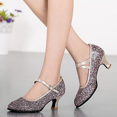 baratos Shall We® Sapatos de Dança-Mulheres Sintético Sapatos de Dança Moderna Gliter com Brilho / Presilha Salto Salto Personalizado Personalizável Prateado / Azul / Dourado / Interior / Ensaio / Prática / Profissional