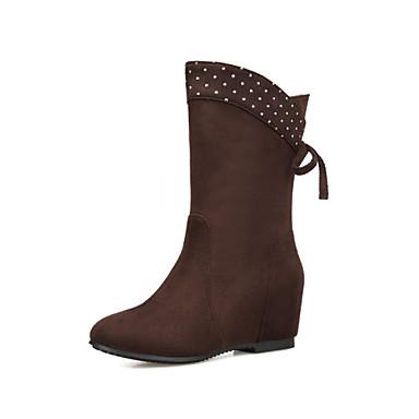 Damen Schuhe Vlies Frühling Herbst Winter Schneestiefel Modische Stiefel Stiefel Keilabsatz Runde Zehe Schleife Niete Für Normal Kleid