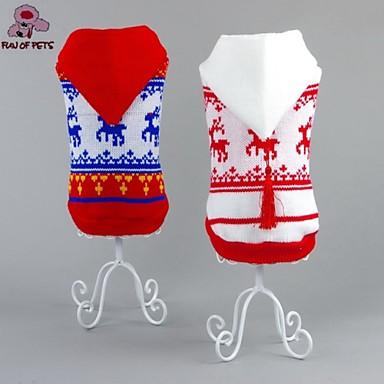 Kat / Hund Gensere / Hettegensere / Jul Hundeklær Reinsdyr Hvit / Rød Bomull Kostume For kjæledyr Herre / Dame Nyttår