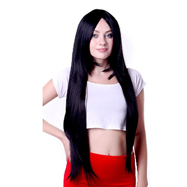 Capless Black Extra Long High Quality Natural Straight Synthetic Wigs