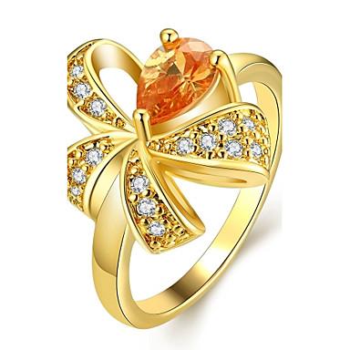 Prstenje Vjenčanje / Party / Dnevno Jewelry Zircon / Pozlaćeni / Pozlata od crvenog zlata Žene Prstenje sa stavom 1pc,7 / 8Zlatna / Rose