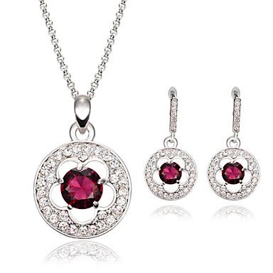 Kristall Edelstein Krystall Aleación Purpur 1 Paar Ohrringe Halsketten Für Hochzeit Party 1 Set Hochzeitsgeschenke