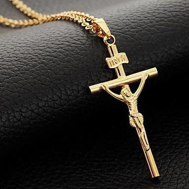 Retro Crucifix High Polished Shape Pendant Necklace