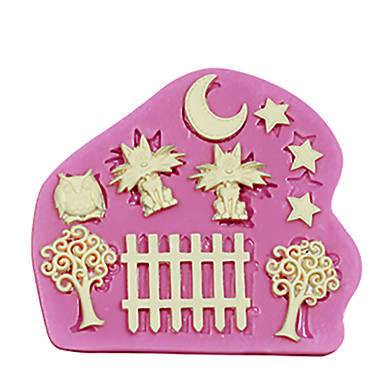 Silicone Cake Decorating Mold Cats At Night Theme Moon StarsFence Trees Owl For Fondant Cake Tools
