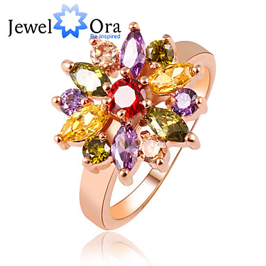 Band Rings Cubic Zirconia Gold Plated Alloy Fashion Elegant Rose Gold Jewelry Party 1pc