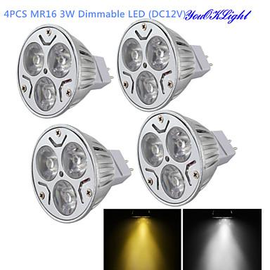 YouOKLight 4stk 300 lm GU5.3(MR16) LED-spotpærer MR16 3 LED perler Høyeffekts-LED Mulighet for demping / Dekorativ Varm hvit / Kjølig hvit 12 V / 4 stk. / RoHs