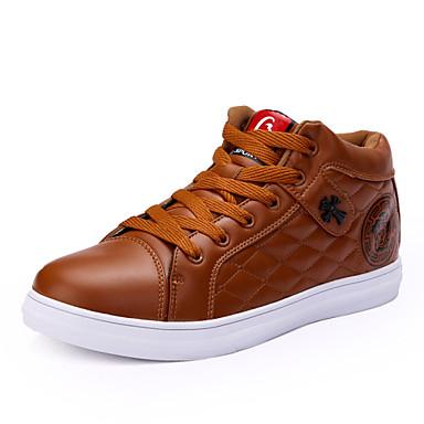 Erkek Ayakkabı Yapay Deri Bahar Yaz Sonbahar Kış Rahat Bağcıklı Uyumluluk Günlük Siyah Kahverengi Kırmızı Şarap