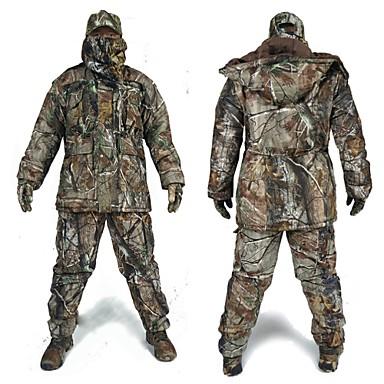 お買い得  ハンティング&ネイチャー-パンツ付きハンティングジャケット 男性用 防水 / 保温 / 耐衝撃性の クラシック / ファッション / カモフラージュ フリース 冬物ジャケット / トップス / 洋服セット 長袖 のために 狩猟 / 釣り