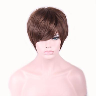 פאות סינתטיות ישר / גלי טבעי תספורת אסימטרית שיער סינטטי שיער טבעי חום פאה בגדי ריקוד נשים קצר ללא מכסה