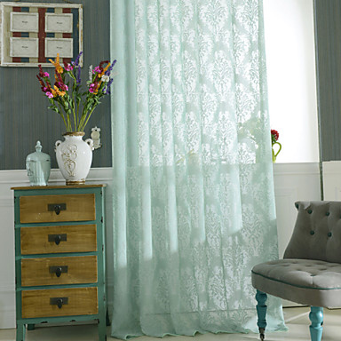 Rod Pocket Grommet Top Tab Top Double Pleat Pencil Pleat Two Panels Curtain Country, Hollow Out Bedroom Polyester Material Sheer Curtains