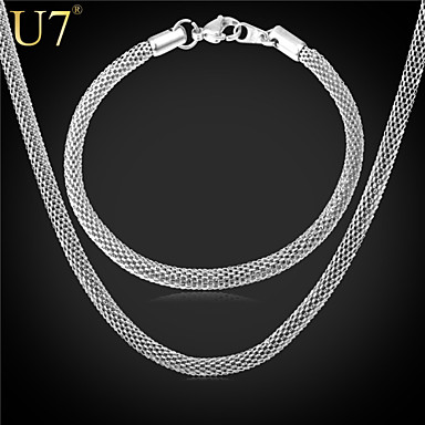 Buy U7® Men's Fashion Gold Chain 22 Inches 18K Real Plated/316L Stainless Steel Round Mesh Bracelet Necklace Set