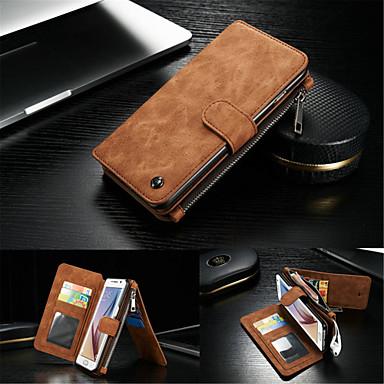 Case Kompatibilitás Samsung Galaxy Samsung Galaxy S7 Edge Kártyatartó Pénztárca Állvánnyal Flip Héjtok Tömör szín Kemény Valódi bőr mert