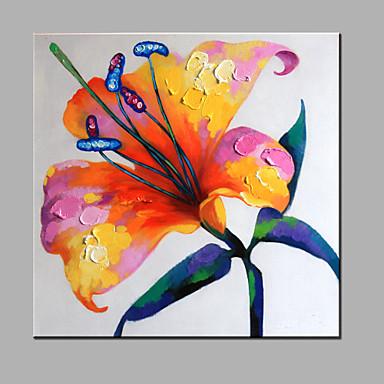 Kézzel festett Virágos / BotanikusModern Egy elem Vászon Hang festett olajfestmény For lakberendezési