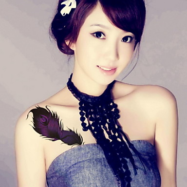Feather  Waterproof Flower Arm Temporary Tattoos Stickers Non Toxic Glitter