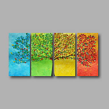 Hand-Painted Floral/Botanical Modern Canvas Oil Painting Home Decoration Four Panels