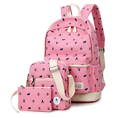 cf1186dfd9a7 3Pcs New Fashion Canvas Fabric Students Girls School Backpack For ...