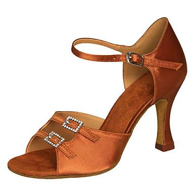 Kadın's Latince Saten Sandaletler Topuklular İç Mekan Performans Profesyonel Yeni Başlayan Egzersiz Taşlı Toka Stiletto Topuk Maun Rengi