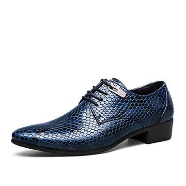 Herre sko Lær / Kunstlær Vår / Høst formell Sko / Trendy støvler Oxfords Svart / Kongeblå