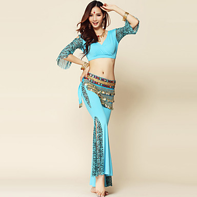 Belly Dance Outfits Women's Performance Spandex Milk Fiber Draped 3 Pieces Top Pants Belt