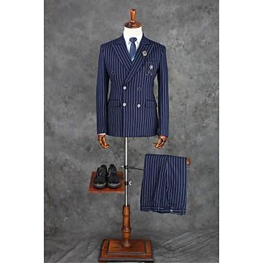 כחול דיו משובץ\משובץ שחור לבן גזרה מחוייטת פוליאסטר חליפה - פתוח Double Breasted Four-button / חליפות