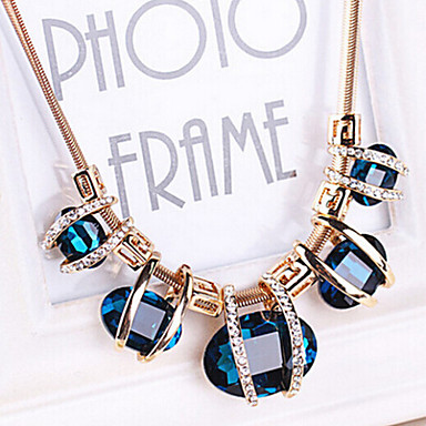 4f39e5e71 Women's Sapphire Crystal Statement Necklace Bib Aquarius Ladies European  Festival / Holiday Elizabeth Locke Crystal Imitation Diamond Blue Screen  Color Dark ...