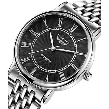 Masculino Mulheres Casal Relógio de Moda Relógio Casual Quartzo Impermeável Aço Inoxidável Banda Prata