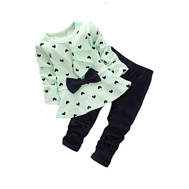 رخيصةأون أطقم ملابس البنات-مجموعة ملابس قطن طويلة كم طويل شريطة / طباعة قلب أساسي للفتيات طفل صغير