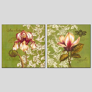 El-Boyalı Çiçek/BotanikModern / Avrupa Tipi Çift Panelli Kanvas Hang-Boyalı Yağlıboya Resim For Ev dekorasyonu