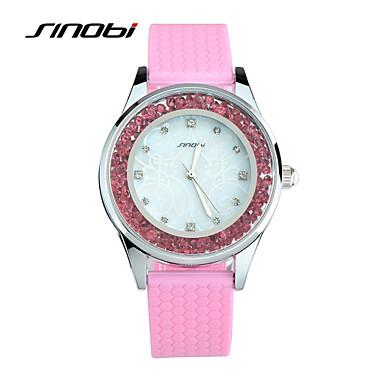 SINOBI Mulheres Relógio de Moda Relógio Casual Relógios Femininos com Cristais Quartzo Impermeável Silicone Banda Rosa