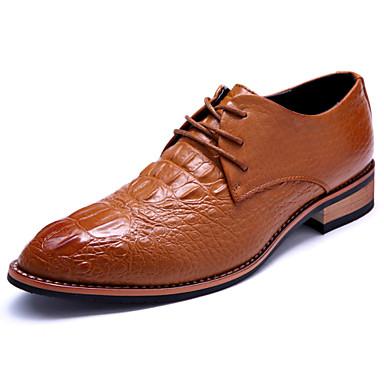 Férfi cipő Bőrutánzat Tavasz Nyár Ősz Tél Kényelmes Fűző Kompatibilitás Hétköznapi Party és Estélyi Fekete Barna Burgundi vörös